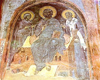 Fig. 1. Deisis-ul de la vechea biserica Domnească de la Curtea de Argeş. Tronul Atotţiutorului reprezintă un cosmos arhitectonic