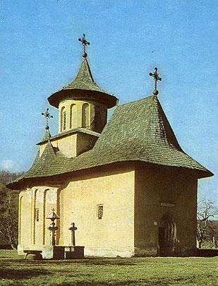 """Fig. 3. Biserica de la Pătrăuţi, preafrumoasă replică arhitectonică a Putnei realizată de Ştefan cel Mare în 1486, ascunde în interior una din cele mai importante picturi mistice ale lumii - """"Sfintii militari, sau Cavalcada Sfintei Cruci""""(1486)"""