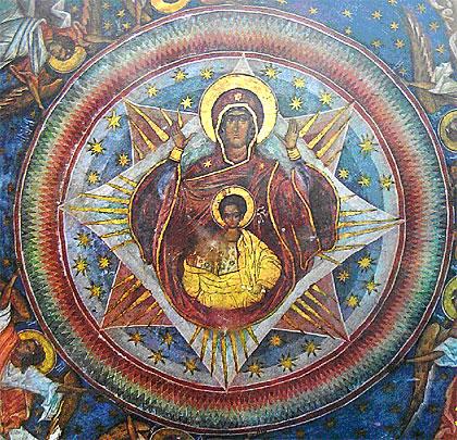 Fig. 7. Maica Domnului, pictura mistică a bisericii Voroneţului din timpul ultimei părţi a domniei lui Ştefan cel Mare